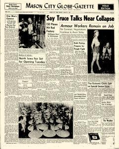 Mason City Globe Gazette, August 11, 1952, Page 1