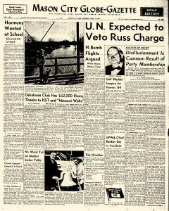 Mason City Globe Gazette, April 19, 1958, Page 1