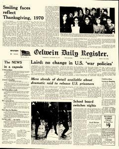 Oelwein Daily Register, November 25, 1970, Page 1