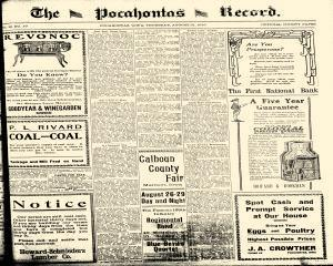Pocahontas Record, August 21, 1919, Page 1