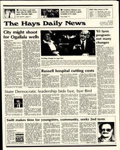 Hays Daily News, February 19, 1993, Page 1