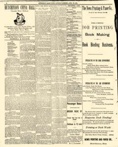 Hutchinson News, April 26, 1890, Page 1