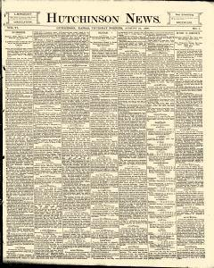 Hutchinson News, August 21, 1890, Page 1