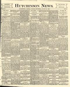 Hutchinson News, August 26, 1890, Page 1
