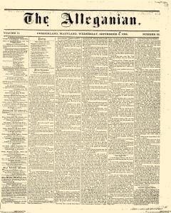 Alleganian, September 06, 1865, Page 1