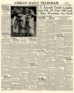 Adrian Daily Telegram, April 04, 1942, Page 1