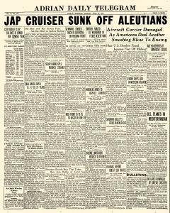 Adrian Daily Telegram, June 16, 1942, Page 1