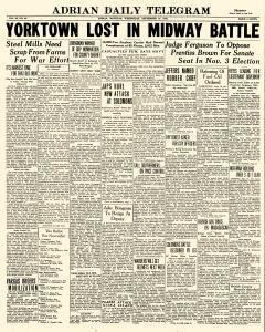 Adrian Daily Telegram, September 16, 1942, Page 1