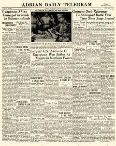 Adrian Daily Telegram, October 09, 1942, Page 1