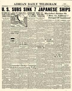 Adrian Daily Telegram, November 02, 1942, Page 1