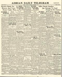 Adrian Daily Telegram, December 03, 1942, Page 1