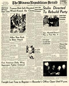 Winona Republican Herald, October 14, 1952, Page 1