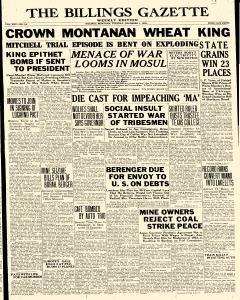 Billings Weekly Gazette, December 01, 1925, Page 1