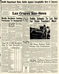 Las Cruces Sun News, October 21, 1958, Page 1