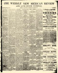 Santa Fe Weekly New Mexican Review And Live Stock, March 26, 1885, Page 1