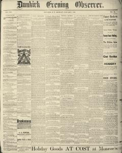 Dunkirk Evening Observer, January 06, 1890, Page 1