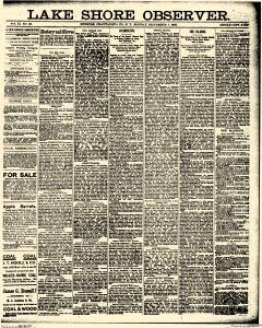 Lake Shore Observer, September 07, 1885, Page 1