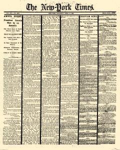 New York Times, April 15, 1865, Page 1