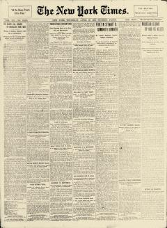 New York Times, April 30, 1903, Page 1