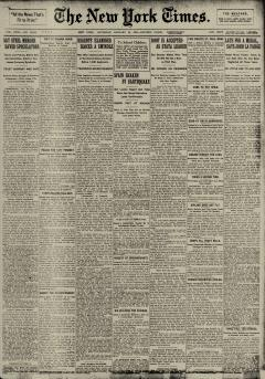 New York Times, January 30, 1909, Page 1