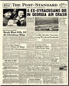 Syracuse Post Standard, December 26, 1961, Page 1
