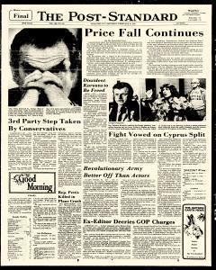 Syracuse Post Standard, February 15, 1975, Page 1
