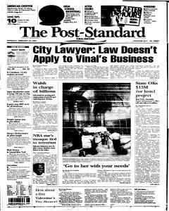 Syracuse Post Standard, February 10, 2005, Page 1