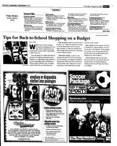 Syracuse Post Standard, August 18, 2005, Page 87