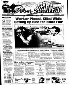 Syracuse Post Standard, August 24, 2005, Page 1