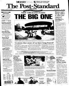 Syracuse Post Standard, August 29, 2005, Page 1