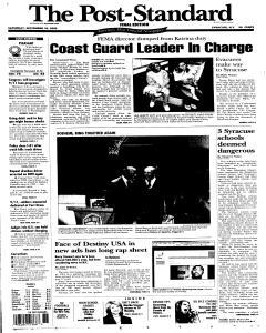 Syracuse Post Standard, September 10, 2005, Page 1