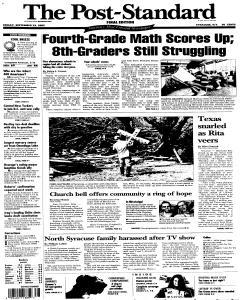 Syracuse Post Standard, September 23, 2005, Page 1
