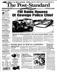 Syracuse Post Standard, October 12, 2005, Page 1