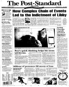 Syracuse Post Standard, October 29, 2005, Page 1