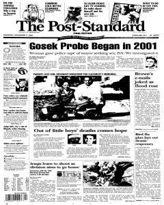 Syracuse Post Standard, November 03, 2005, Page 1