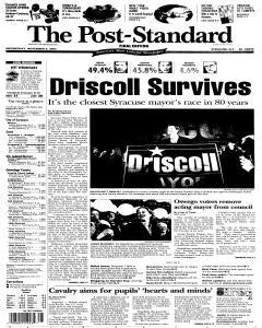 Syracuse Post Standard, November 09, 2005, Page 1
