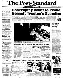 Syracuse Post Standard, November 12, 2005, Page 1