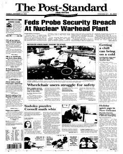 Syracuse Post Standard, November 22, 2005, Page 1