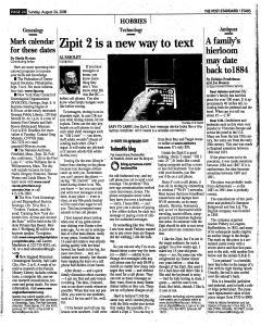 Syracuse Post Standard, August 24, 2008, Page 132