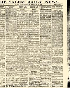 Salem Daily News, February 20, 1890, Page 1