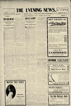 Ada Evening News, May 19, 1905, Page 1