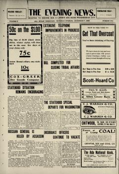 Ada Evening News, December 07, 1905, Page 1