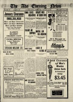 Ada Evening News, January 15, 1919, Page 1