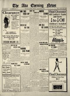 Ada Evening News, January 17, 1919, Page 1
