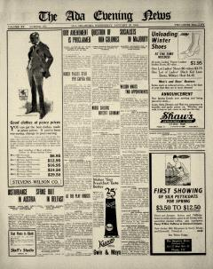 Ada Evening News, January 29, 1919, Page 1