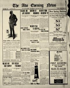 Ada Evening News, January 30, 1919, Page 1