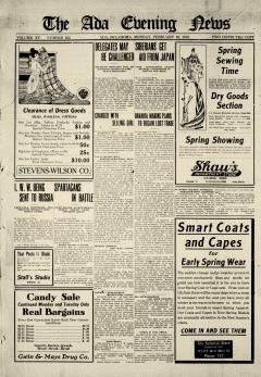 Ada Evening News, February 10, 1919, Page 1