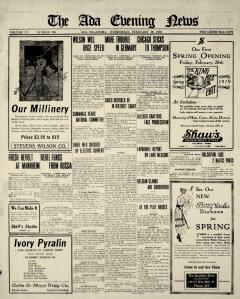 Ada Evening News, February 26, 1919, Page 1