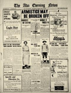 Ada Evening News, February 27, 1919, Page 1