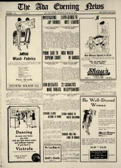 Ada Evening News, March 17, 1919, Page 1